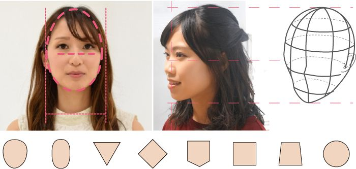 お顔と頭部から似合うヘアスタイルを診断